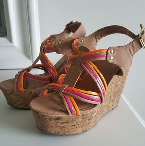Candies Multicolored Platform Wedges 8.5
